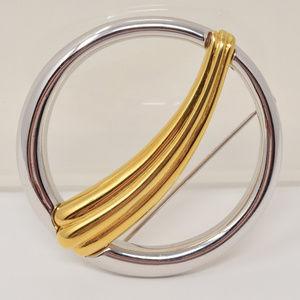 Vintage Monet Circle Brooch Gold & Silver Tone EUC
